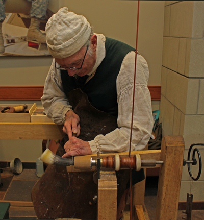 Here is Dick Toone our new Guildmaster spinning a horn on his spring pole lathe.
